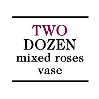Vase - 2 Dozen Mix Roses